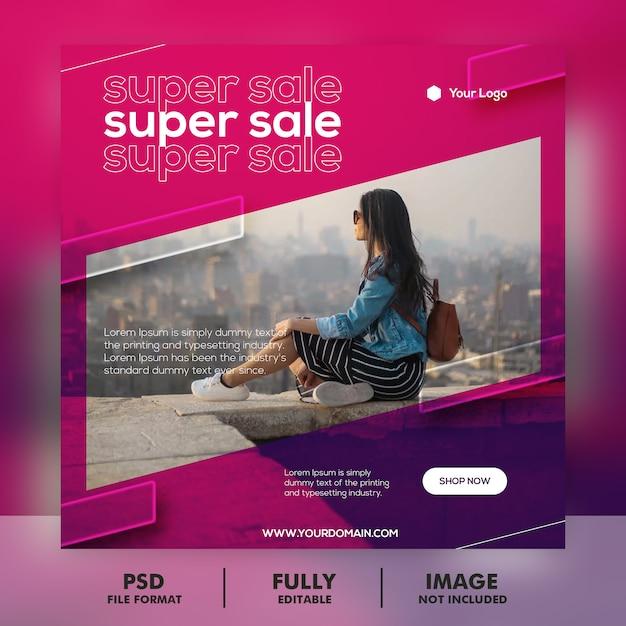 Lila dynamische banner-vorlage Premium PSD
