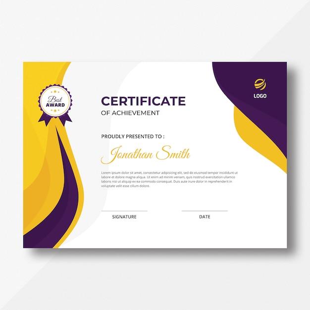 Lila & gelbe wellen zertifikat Premium PSD