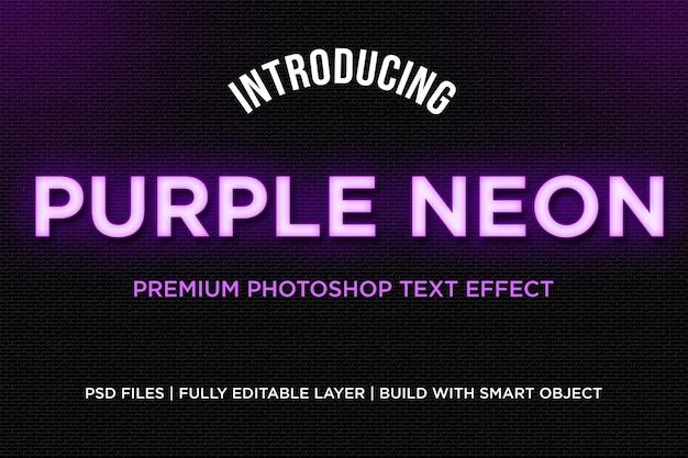 Lila neon-textstil-effekt Premium PSD