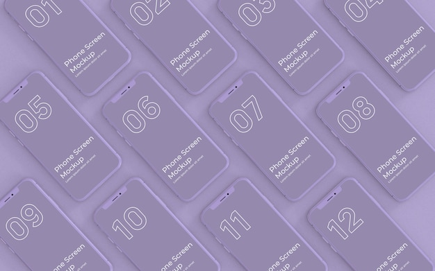 Lila telefonbildschirme mockup draufsicht Premium PSD
