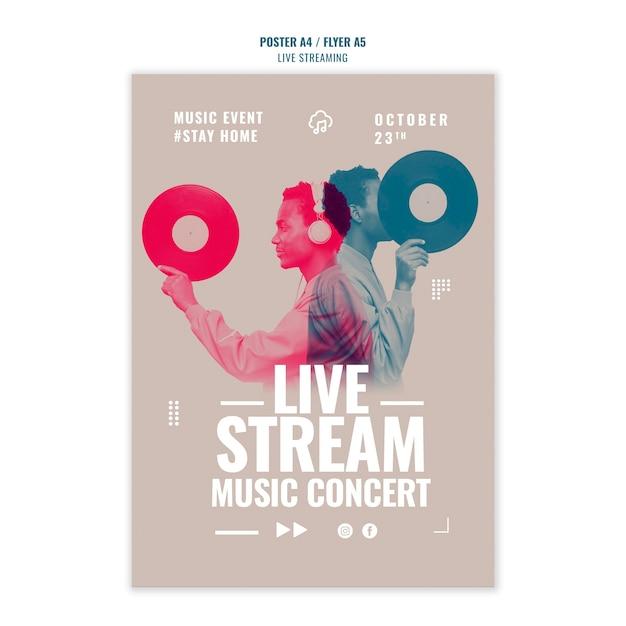 Live-musik streaming poster vorlage design Kostenlosen PSD