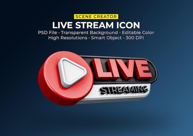 Live-streaming 3d-render-symbol abzeichen isoliert Premium PSD