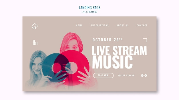 Live-streaming-landingpage-template-design Kostenlosen PSD