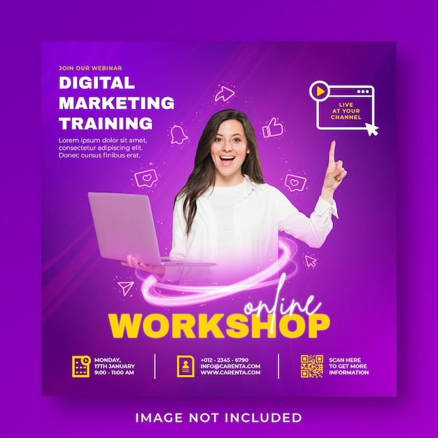 Live-streaming webinar werbung social media instagram post banner vorlage Premium PSD