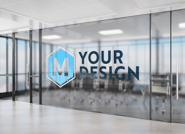 Logo auf büro getöntes fenster modell Premium PSD
