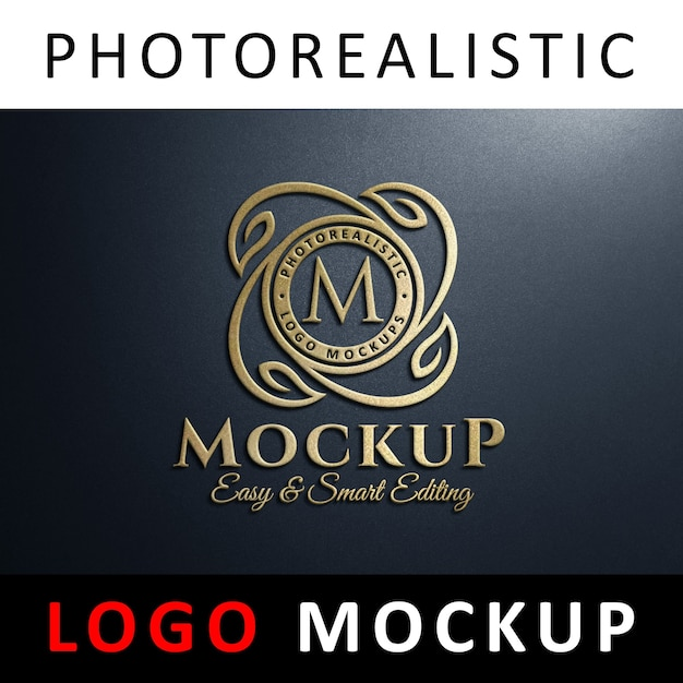 Logo mock up - 3d golden logo an der wand Premium PSD