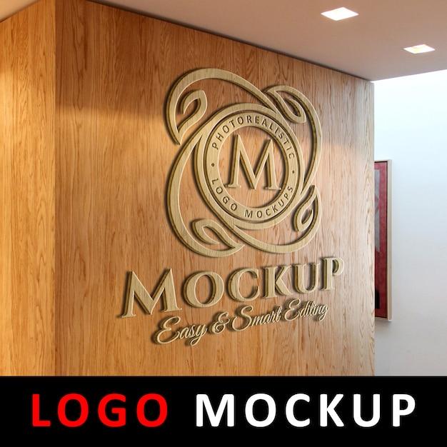Logo mockup - 3d wooden logo signage auf office wall Premium PSD