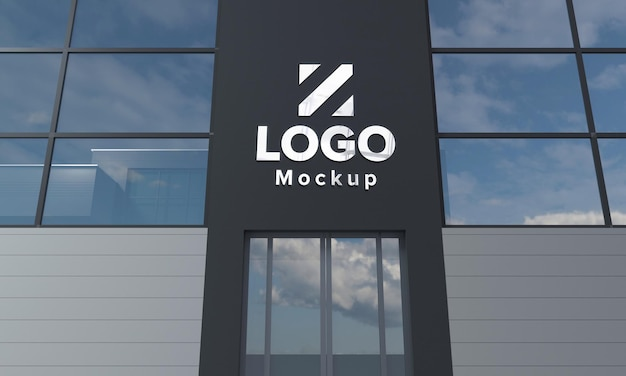 Logo mockup design gebäude nahaufnahme 3d gerendert Premium PSD