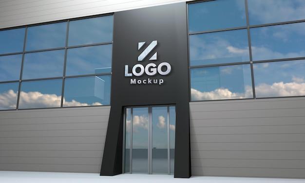 Logo mockup design gebäude seitenansicht 3d gerendert Premium PSD
