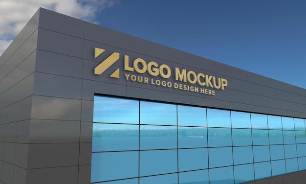 Logo mockup design gebäude seitenansicht 3d-rendering Premium PSD