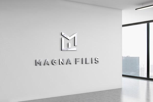 Logo mockup office wall 3d Premium PSD