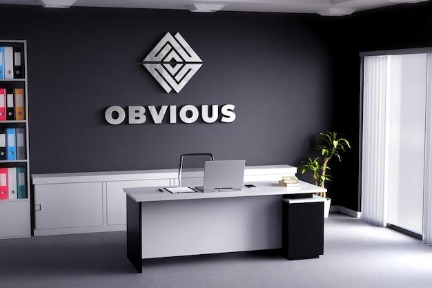 Logo mockup realistic sign büroraum schwarze wand Premium PSD