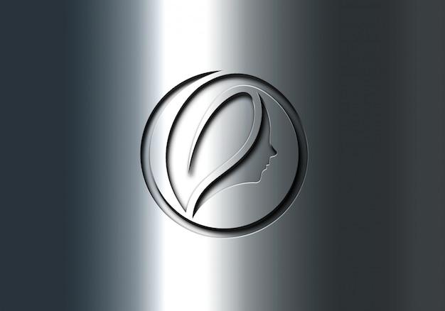 Logo-modell für rostfreie gravureffekte Premium PSD