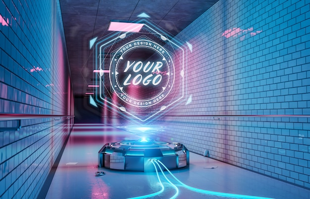 Logo-projektor im futuristischen u-bahn-korridor-modell Premium PSD