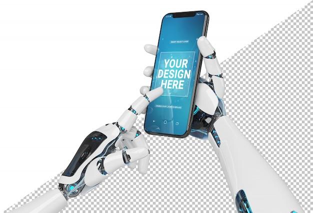 Lokalisierte weiße roboterhand, die modernes smartphonemodell hält Premium PSD