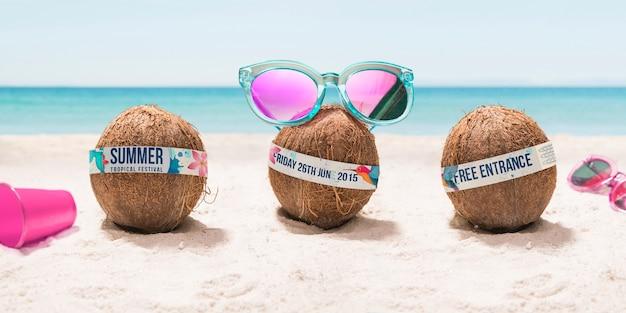 Lustige kokosnuss mit sonnenbrillenfest Kostenlosen PSD
