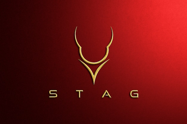 Luxus gold geprägtes rotes papier logo modell Premium PSD