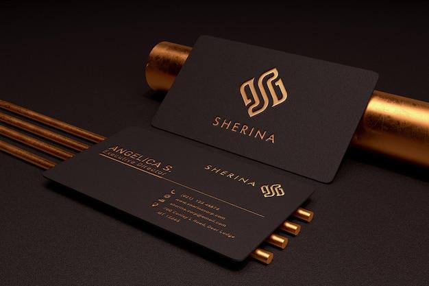 Luxus- und minimalistisches logo-modell auf dunkler visitenkarte Premium PSD