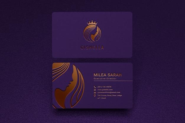 Luxus-visitenkartenmodell mit goldlogo-buchdruckeffekt Premium PSD