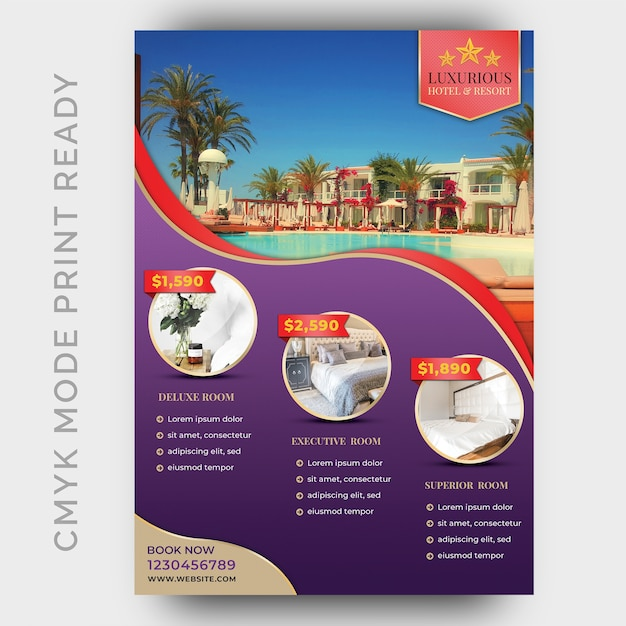 Luxushotel-schablone für plakat, flieger, zeitschriftenseite Premium PSD