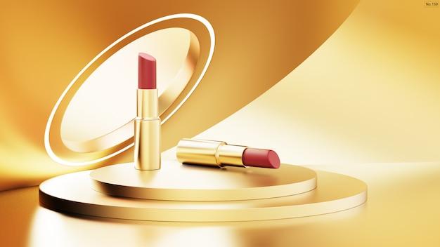 Luxuslippenstift auf goldenem bühnenpodium. Premium PSD