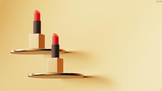 Luxuslippenstift auf goldhintergrund. Premium PSD