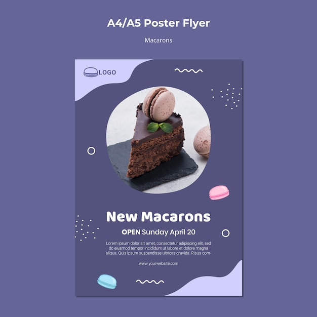 Macarons konzeptplakatschablone Kostenlosen PSD