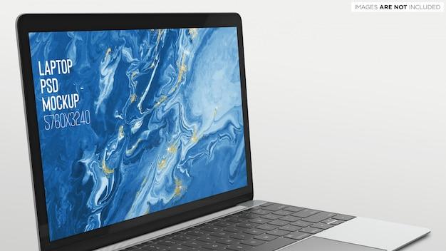 Macbook pro psd mockup schließen sie die ansicht Premium PSD