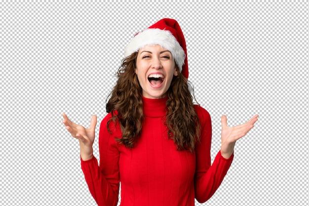 Mädchen mit weihnachtsmütze unglücklich und mit etwas frustriert Premium PSD