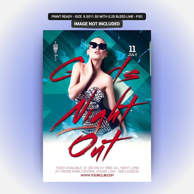 Mädchen night out musik party poster Premium PSD