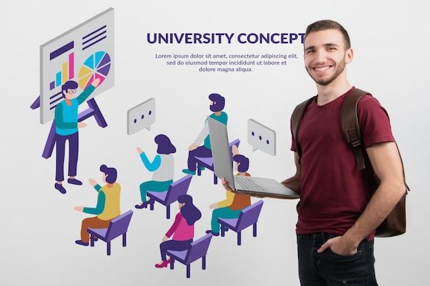 Männlicher student, der onlineplattform darstellt Kostenlosen PSD