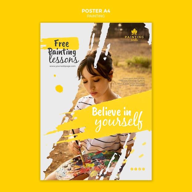 Malen flyer vorlage mit foto Kostenlosen PSD