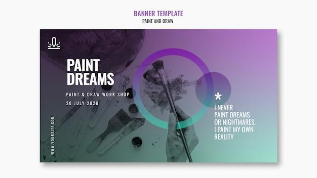Malen sie träume banner mit foto Kostenlosen PSD