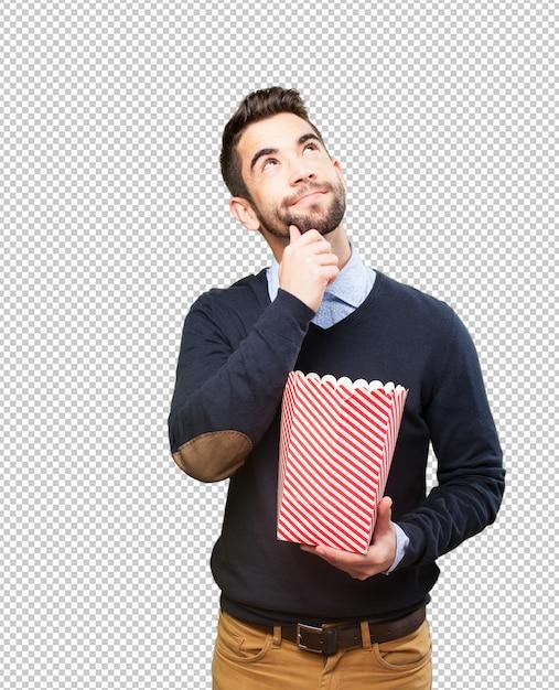 Man isst popcorn Premium PSD