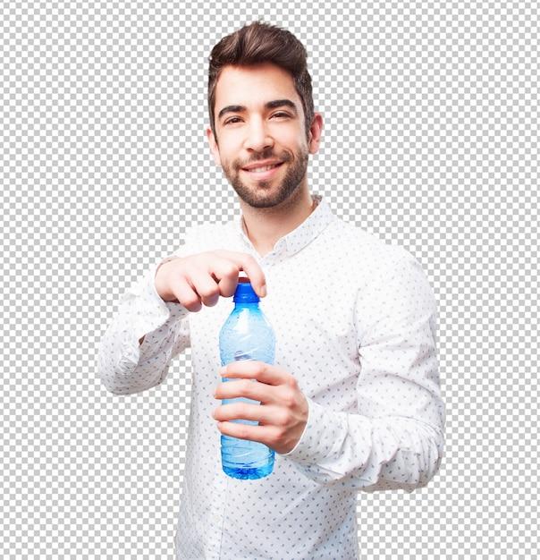 Man öffnet eine flasche wasser Premium PSD