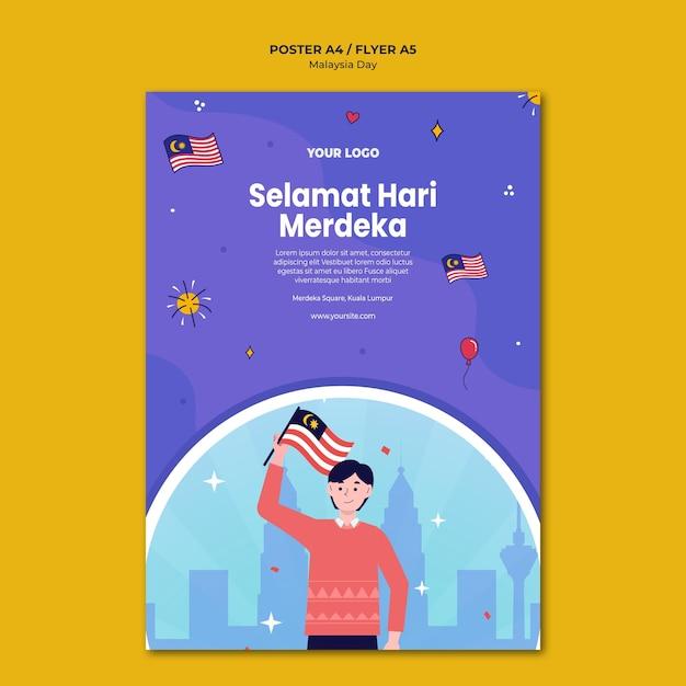 Mann, der malaysische flaggenplakatschablone hält Kostenlosen PSD