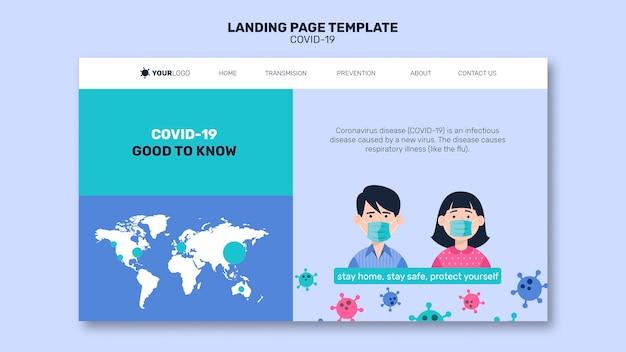 Mann und frau mit maske coronavirus landing page Premium PSD