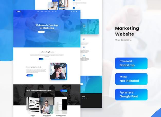Marketing agentur website landing template design Premium PSD