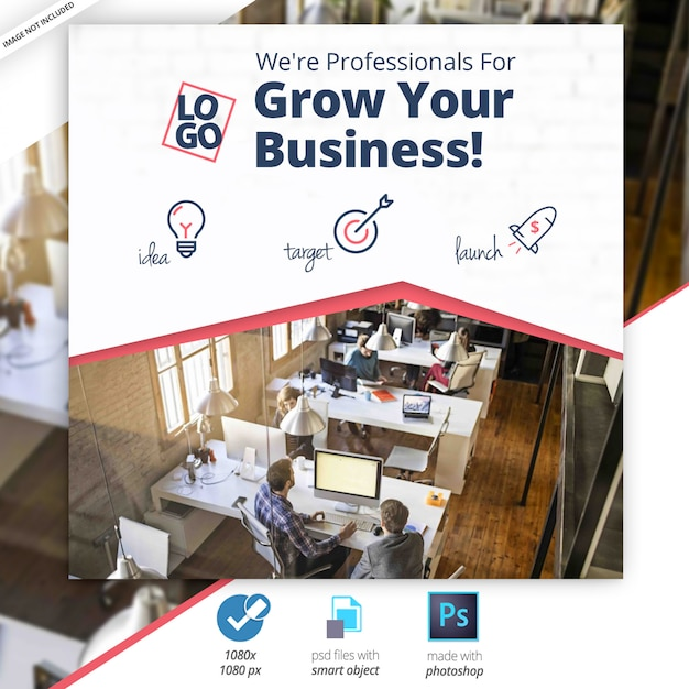 Marketing-geschäft social media web banner Premium PSD