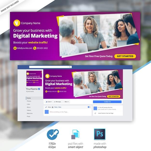 Marketing-geschäfts-facebook-zeitplan-abdeckungsbanner Premium PSD