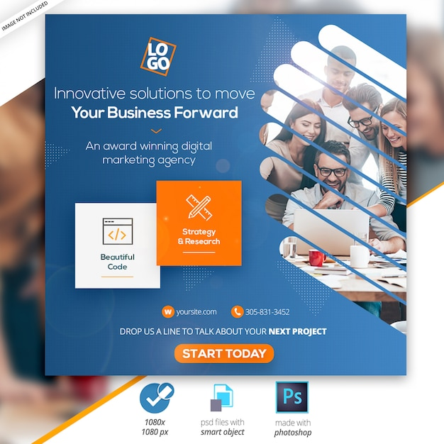 Marketing-geschäfts-social instagram media-netz-fahne Premium PSD