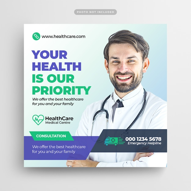 Medical healthcare flyer social media post & web banner Premium PSD