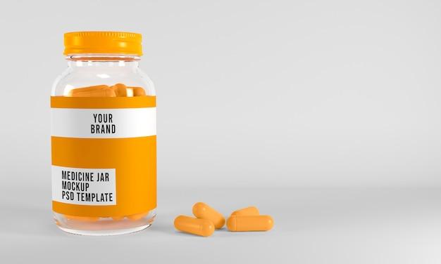 Medizinglas- und kapselmodell auf weißem oberflächen-3d-rendering Premium PSD