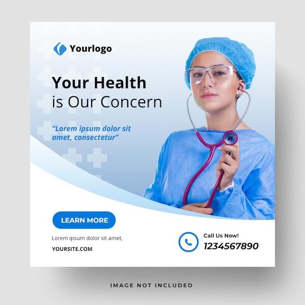 Medizinische gesundheit social media post vorlage Premium PSD
