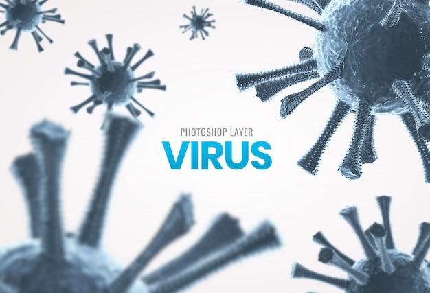 Medizinische mikroskopische viruszellen schließen hintergrund Premium PSD