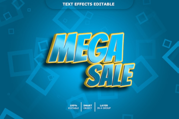 Mega sale 3d-textstil-effekt Premium PSD