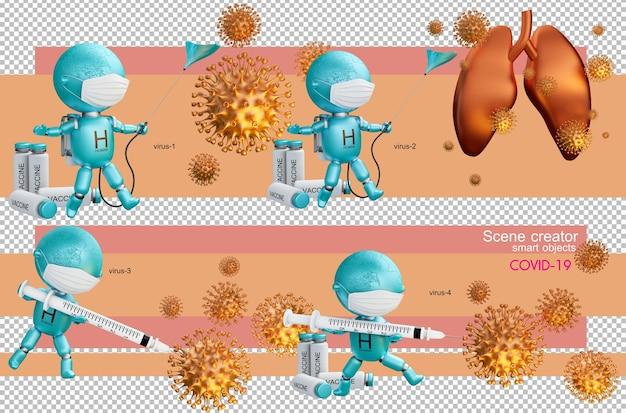 Menschliche schlacht der 3d-illustration mit dem coronavirus isoliert Premium PSD