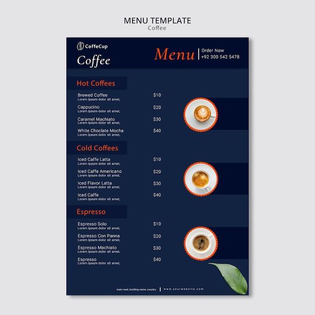 Menüvorlage mit kaffee Kostenlosen PSD