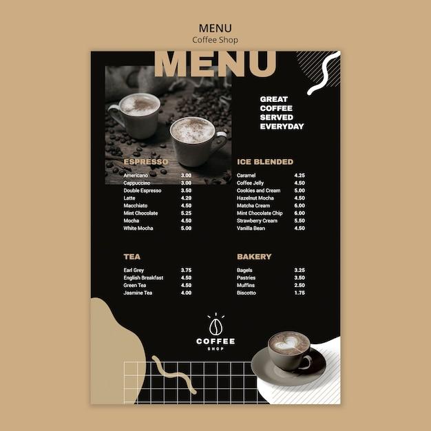 Menüvorlagendesign für kaffeestube Kostenlosen PSD