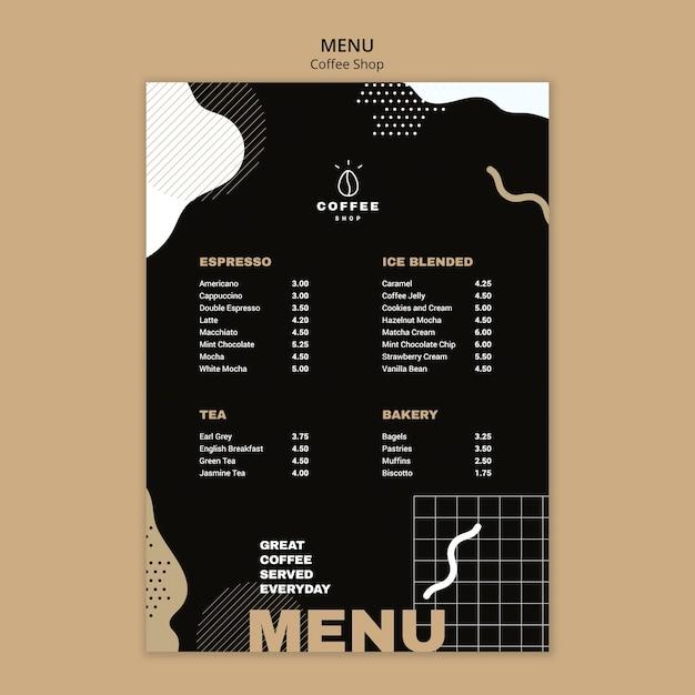 Menüvorlagenkonzept für kaffeestube Kostenlosen PSD
